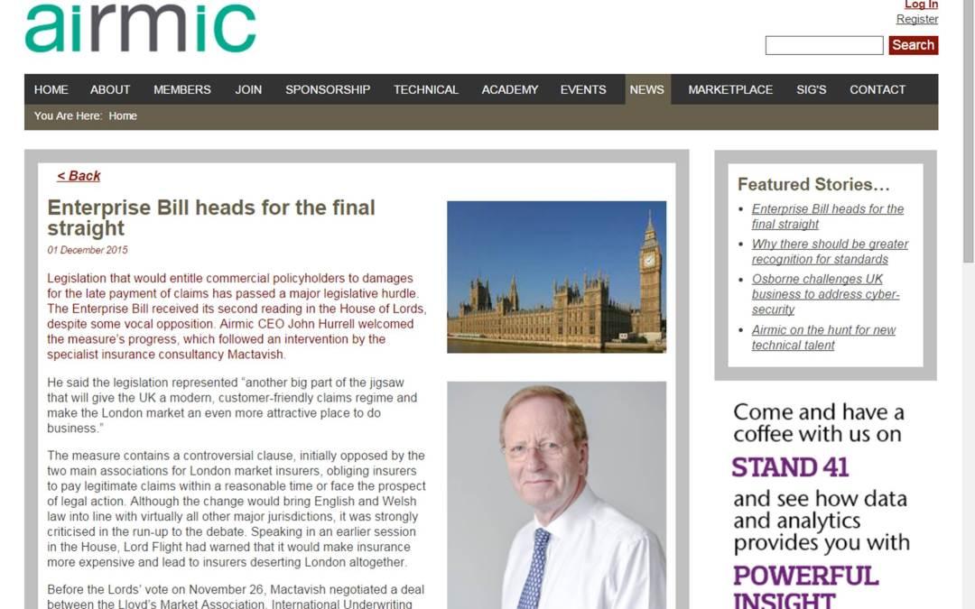 Airmic praises Mactavish's Enterprise Bill intervention