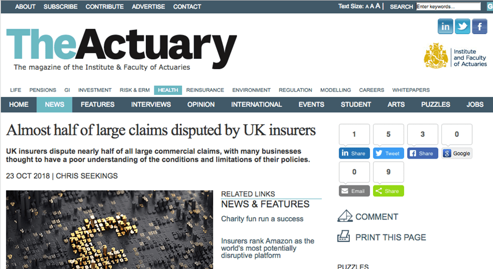 "The Actuary – ""Almost half of large claims disputed by UK insurers"""