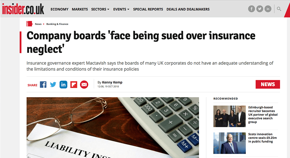 insider.co.uk – Company boards 'face being sued over insurance neglect'