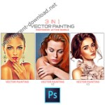 3 in 1 Vector Painting Photoshop Action Bundle