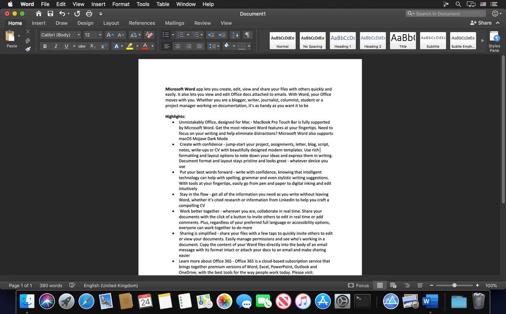 Microsoft Word 2019 1629 VL Screenshot 02 1a1119xn