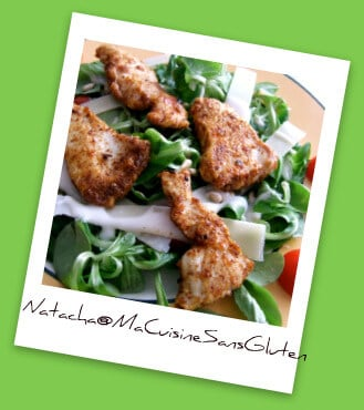 Salade Poulet (presque) Croustillant, Tomates et Parmesan sans gluten