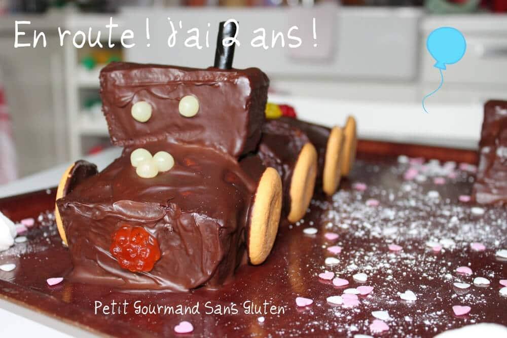 Gâteau train sans gluten avec cake au caramel