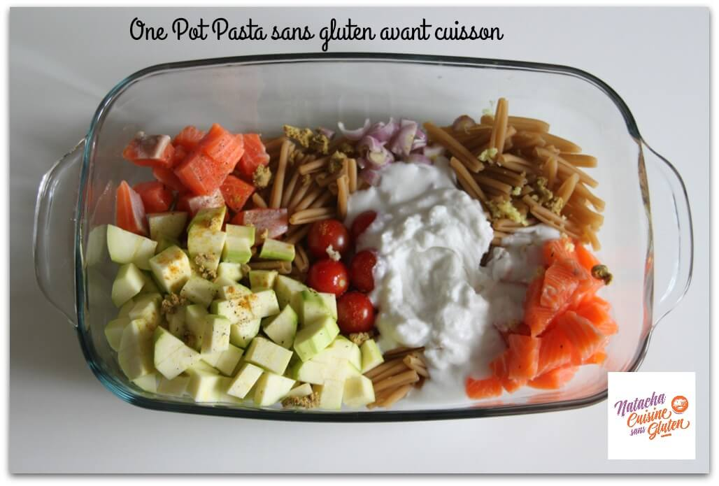 one pot pasta saumon courgettes sans gluten avant cuisson