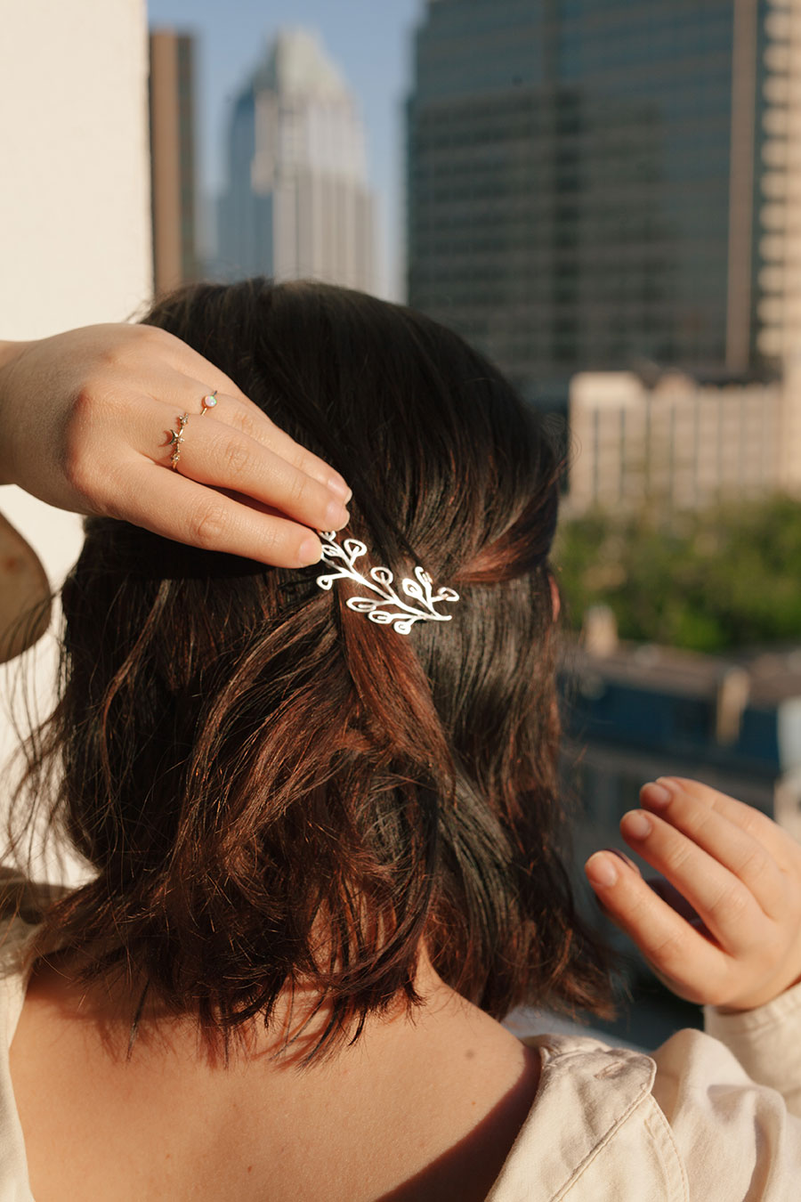 Prima hairclips for Dandy Ona Jewelry shot by Ralph Mendoza