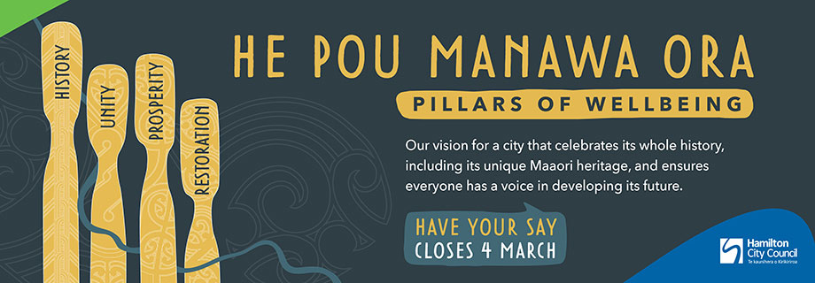 Pukete Board Creative. He Pou Manawa Ora. Pillars of wellbeing. Our vision for a city that celebrates its whole history, including its unique Maaori heritage, and ensures everyone has a voice in developing its future. Have your say closes 4 march. Hamilton City Council.