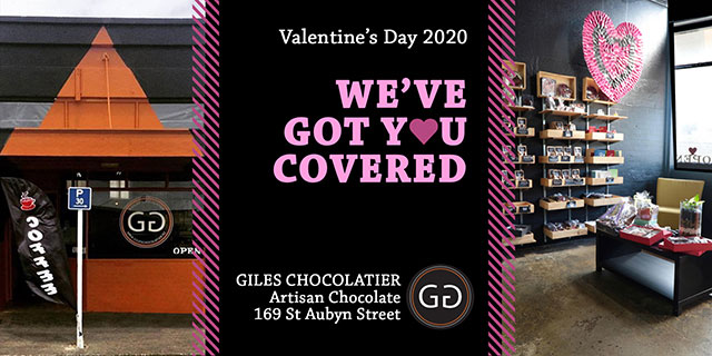 Hobson Board Creative. Valentines Day, we've got you covered. Giles Chocolatier, Artisan Chocolate, 169 St Aubyn Street
