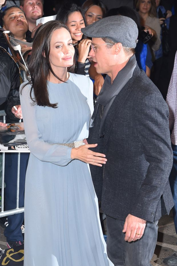 "Angelina Jolie and Brad Pitt arrive to the screening of their movie ""By the sea"" at the ""Directors Guild of America"" theatre in Midtown, NYCPictured: Angelina Jolie and Brad Pitt Ref: SPL1165574 031115 Picture by: Splash News"
