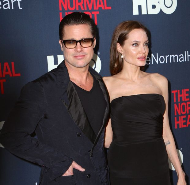 ''The Normal Heart'' New York screening.Pictured: Brad Pitt and Angelina JolieRef: SPL755732  120514  Picture by: Nancy RiveraSplash News and PicturesLos Angeles:310-821-2666New York:	212-619-2666<B