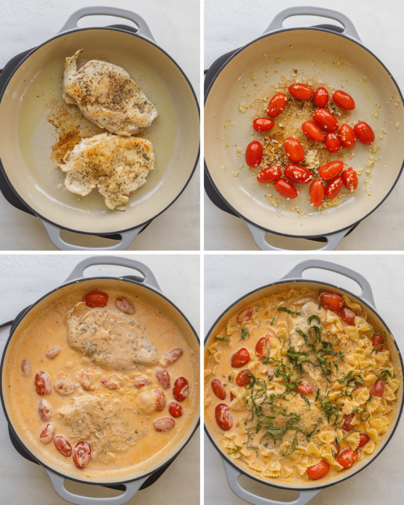 Above view of step by step assembly of creamy tomato basil chicken recipe