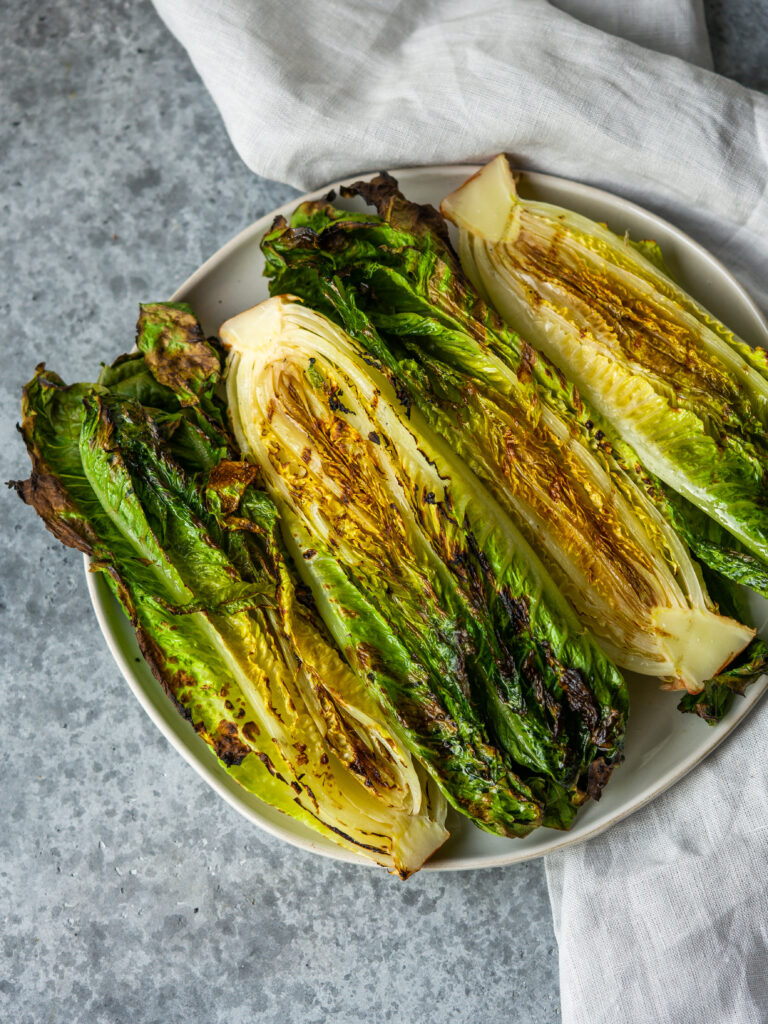 Above view of grilled romaine lettuce for grilled caesar salad recipe