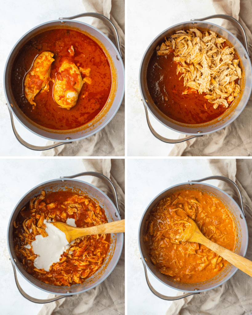 step by step mixing the chicken pasta sauce