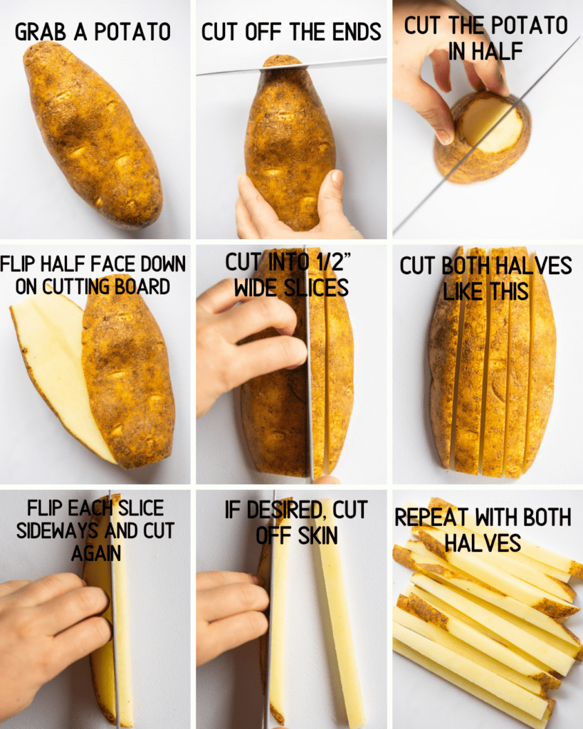Above view of step by step instructions for how to make french fries from a potato