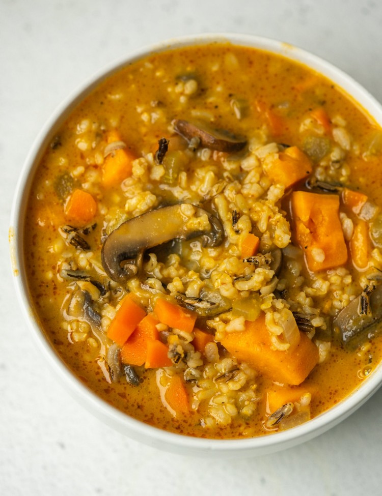 Above view of wild rice mushroom soup in a bowl