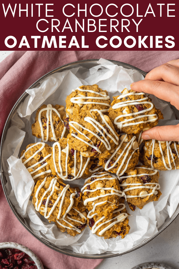 pinterest image for cranberry oatmeal cookies