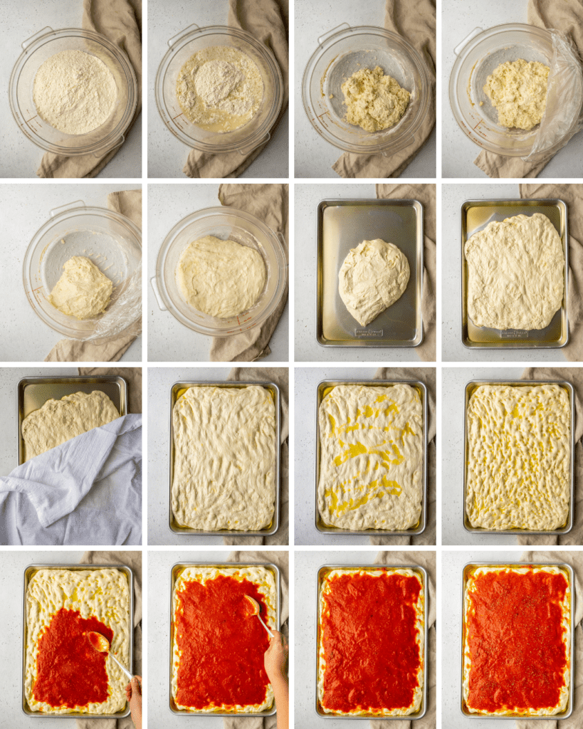 Above view of step by step assemble of tomato pie Philly