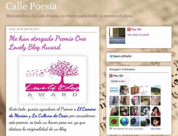 Pantallazo blog Calle Poesía