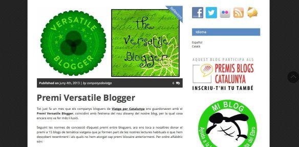 Premio Versatile Blogger en el blog Companys de Viatge