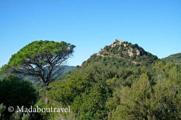 Vistas del Castell de Burriac desde Argentona, Catalunya