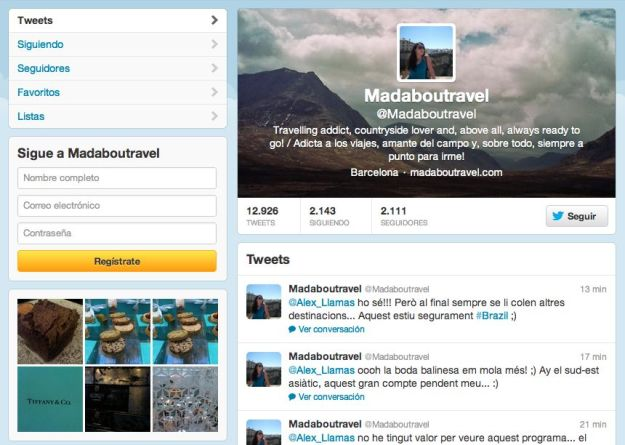 Cuenta de Twitter del blog Madaboutravel