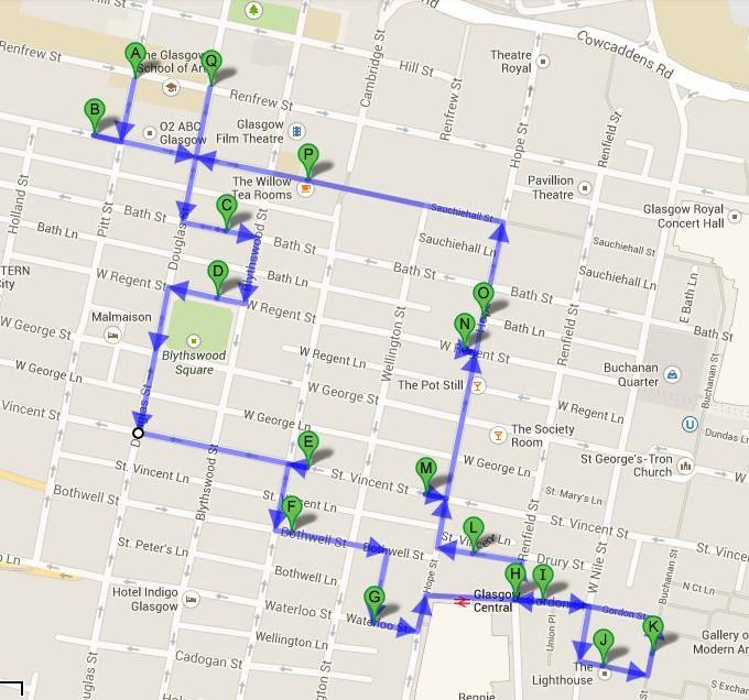 Mapa Tour Glasgow Style