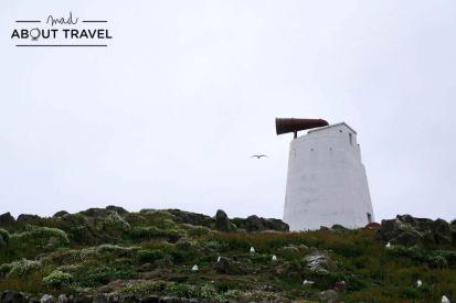 Sirena de niebla en la Isla de may en Escocia