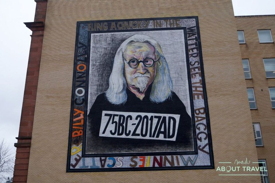 ruta de murales en Glasgow: Billy Connolly