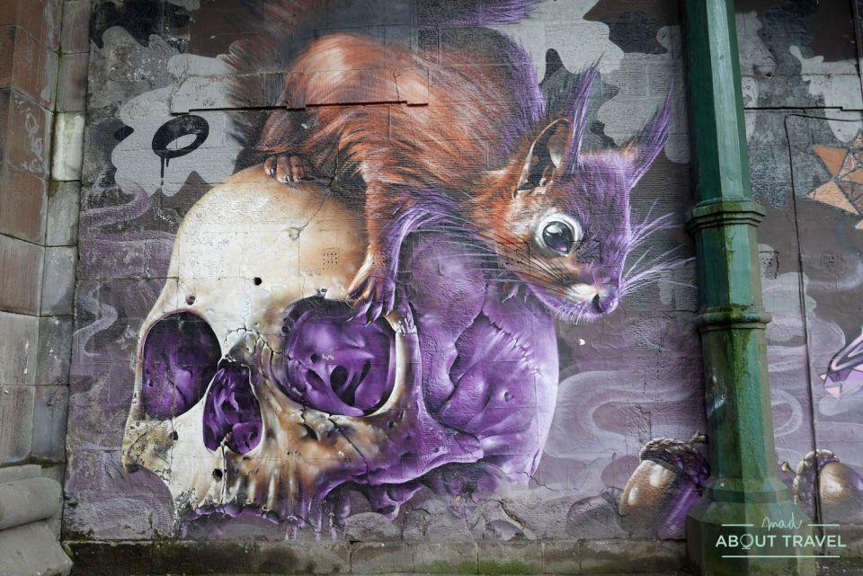ruta de arte urbano de glasgow: mural kelvinbridge smug