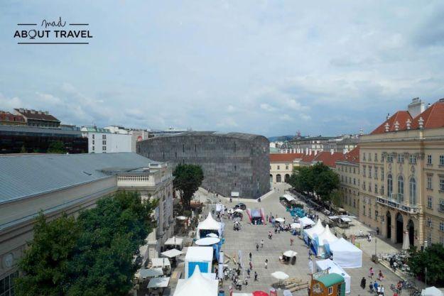 Vistas del Museums Quartier de Viena desde el Museo Leopold