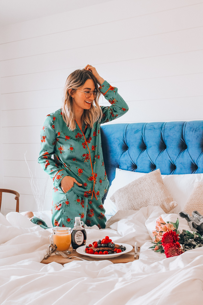 c8c173792dce Madam Andrews in a green floral summer pajama set eating breakfast in bed  ...