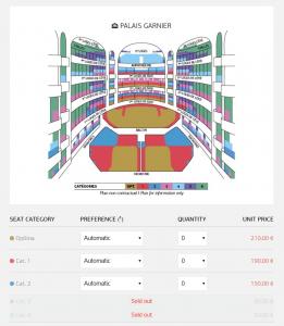 パリオペラ座の座席値段チャート
