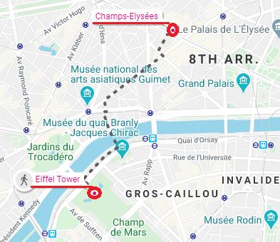 Champs-Elysées trivia eiffel tower map