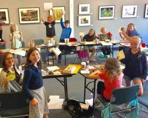 Children With Home made envelopes at the Book Passage Bookstore Karen Benke