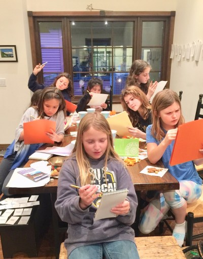 Karen Benke with Fourth Graders at the Writing Workshop in Writers Nest California