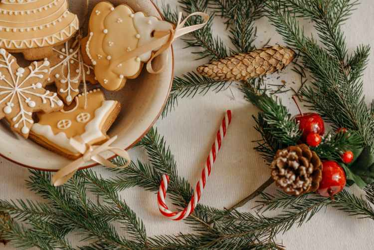christmas decorations on white background