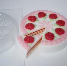 """Пластиковая форма """"Торт с розами под нарезку"""""""