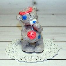 Мыло ручной работы Мишка Тедди в веночке и с букетом