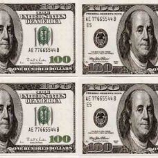 Наклейка 100 долларов