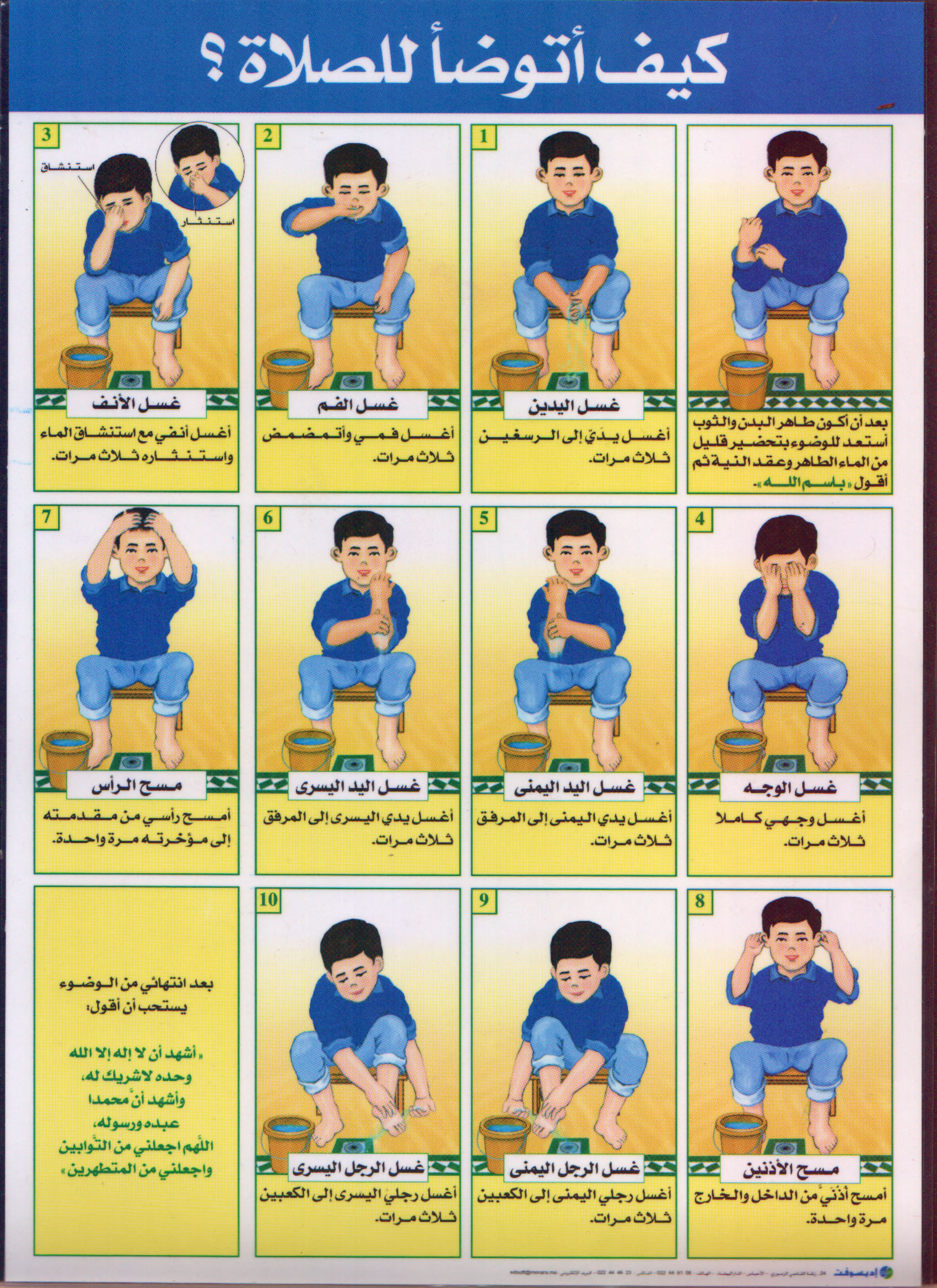 How To Perform Wuduu For Prayer A Step By Step Chart For Children And New Muslims