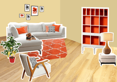 As Eva already had in this area some things in orange, we decided to stick to this color and just add a little style.