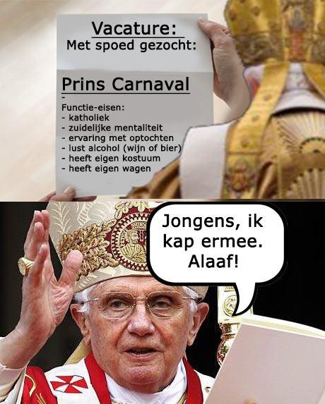 PAUS VACATURE PRINS CARNAVAL