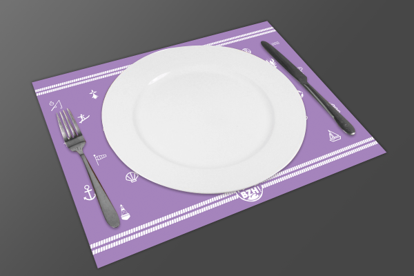 Set de table mad bzh modele pince violet bzh breizh bretagne