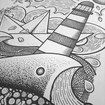 mad bzh propose des dessins encadrés sur le theme marin