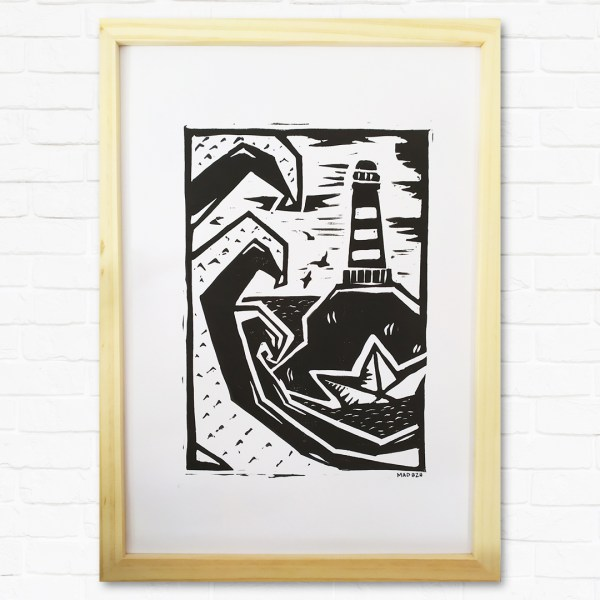 Cadre paysage marin linogravure mad bzh