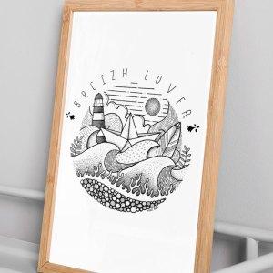 MAD BZH vous présente une nouvelle piece unique, le modèle Breizh Lover, un dessin fait main, à la mode bretonne