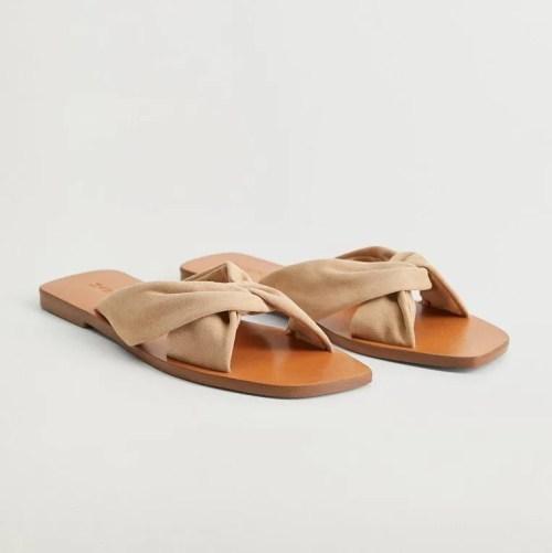 Mango Criss-Cross Leather Strap Sandals