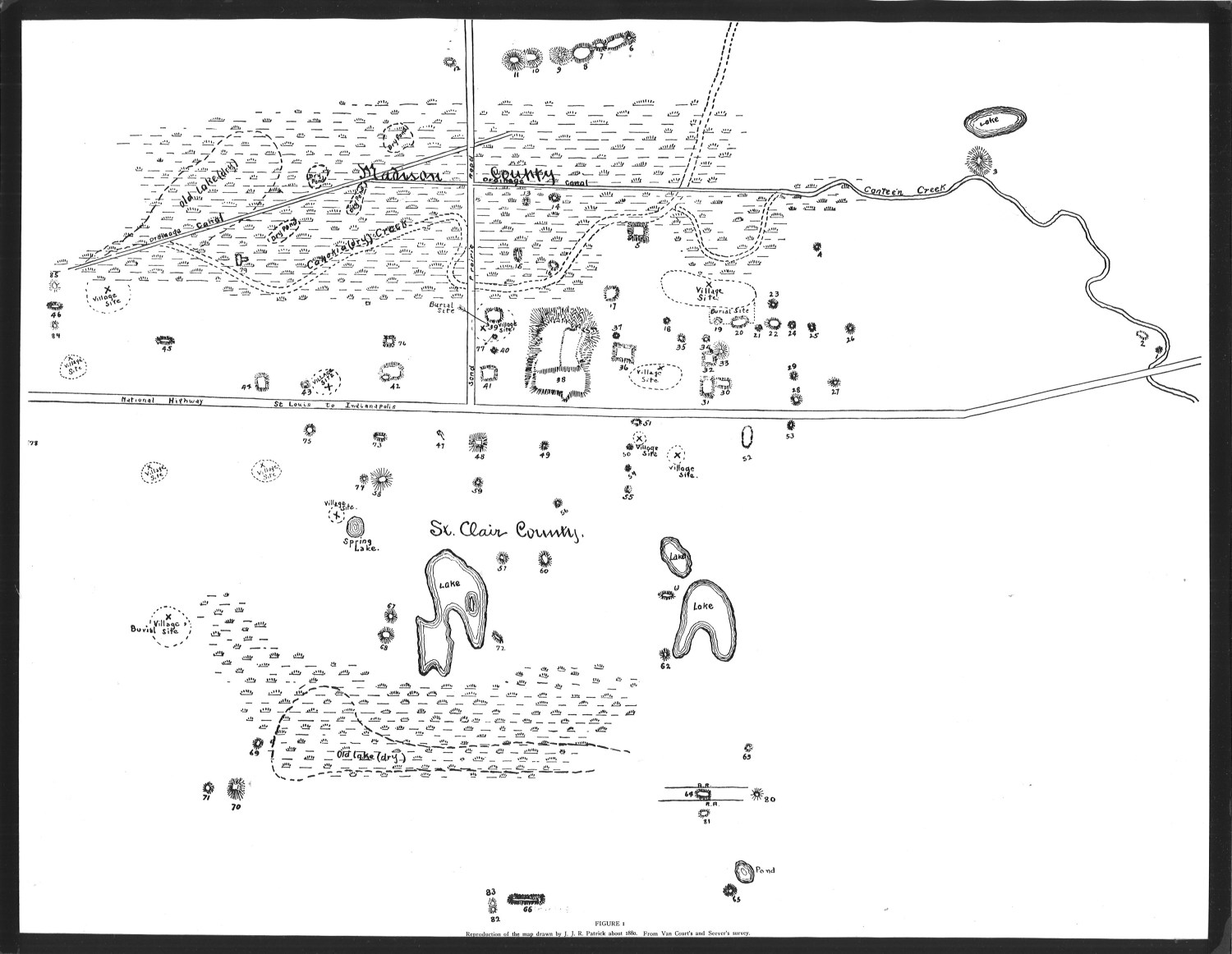 map of Cahokia mound city
