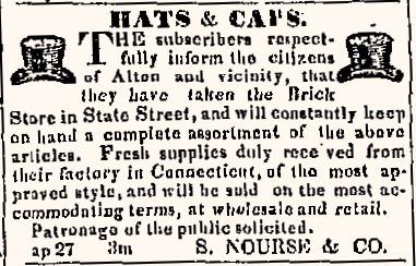 Newspaper advertisement 1836