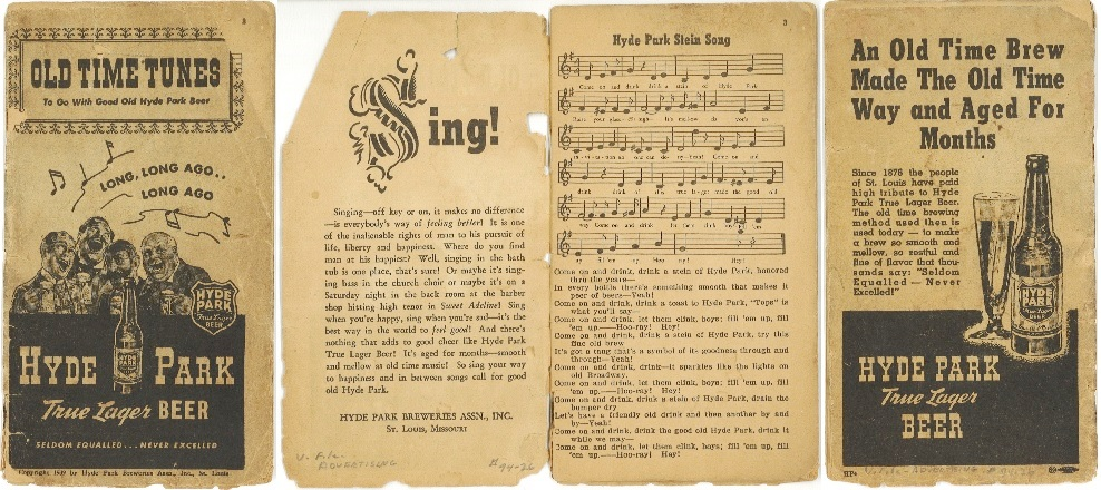 Hyde Park Beer songbook