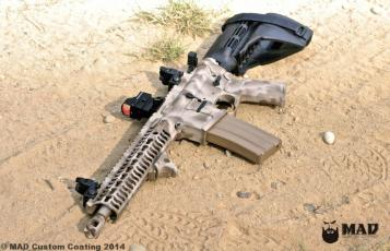 MAD Edge Camo on an AR Pistol using Desert Sand, Patriot Brown & Magpul FDE